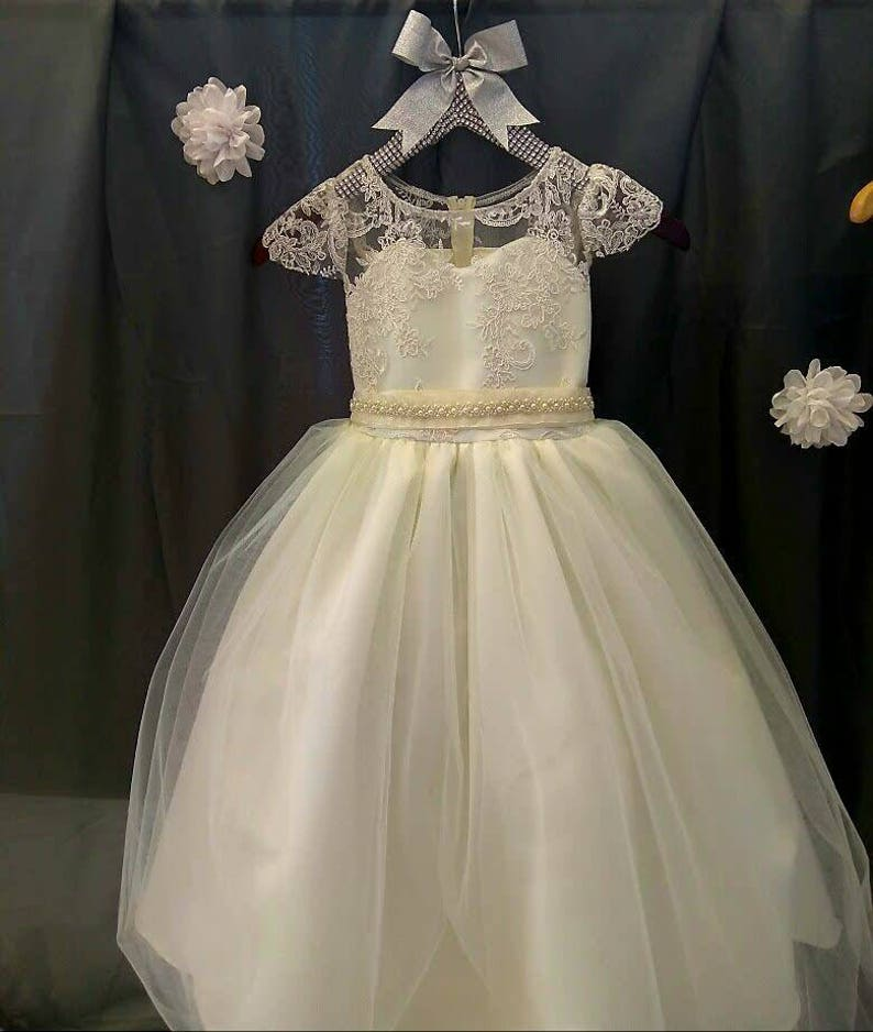 93e2f45090d Lace cap sleeve flower girl dress first communion lace baptism