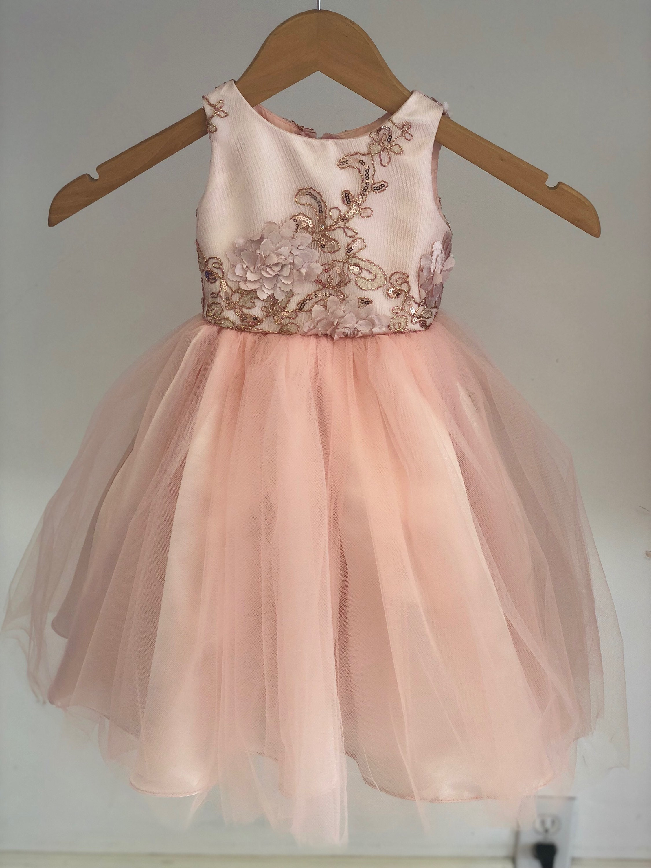 Rosemary Dress Lace Sequin Blush Pink Flower Girl Dress Tulle Etsy