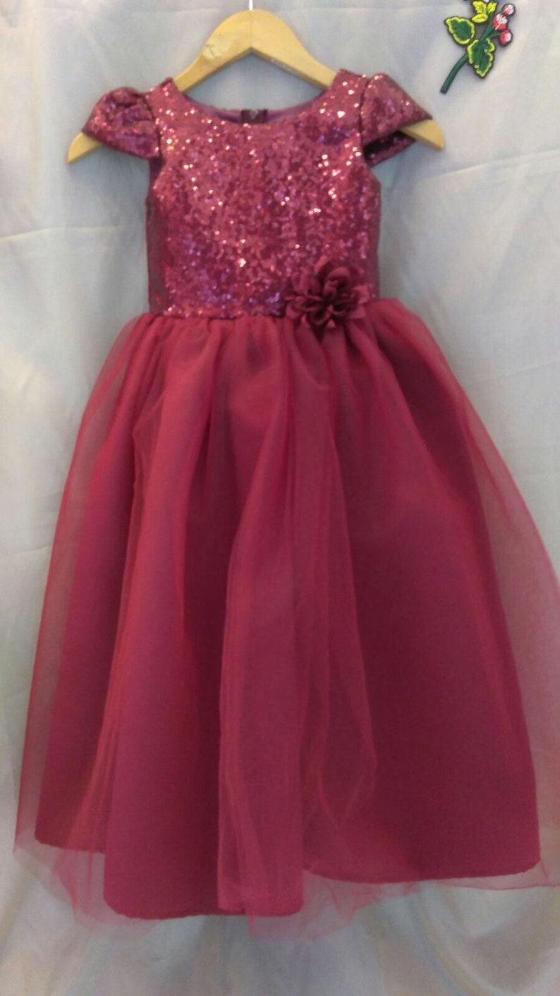 3cfab7d4cde Burgandy flower girl dress maroon sequin flower girl dress