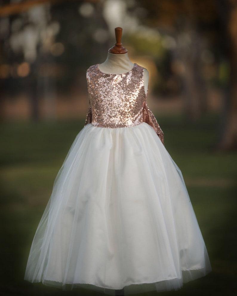 7cc9a03c0cf Sequin rose gold flower girl dress tulle skirt formal sequin