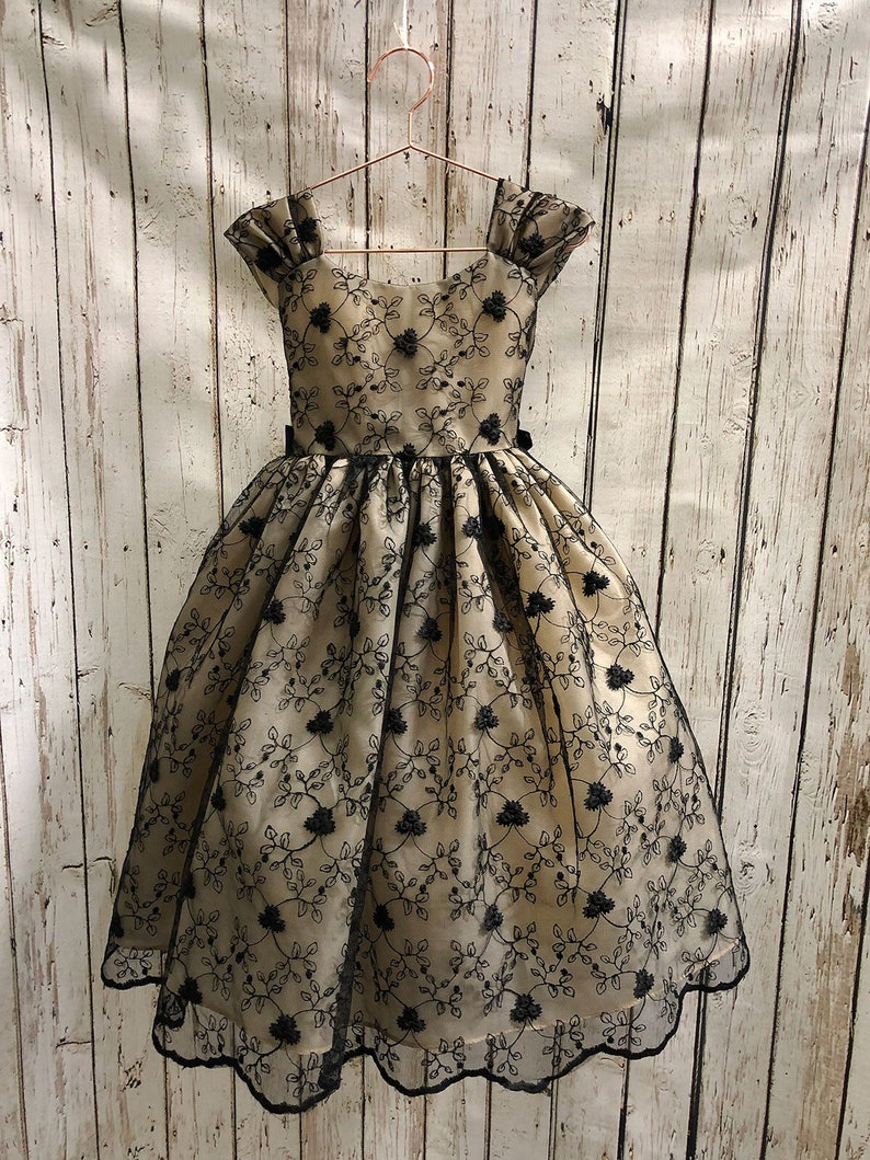 flower girl dress black over lay lace dusty rose gold back fancy special occasion dress red black dress jr bridesmaid Sarina Dress