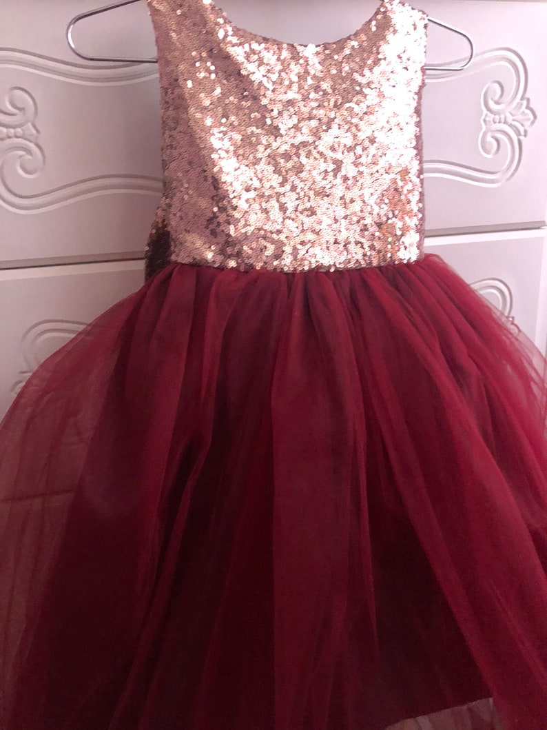 f327f42c43f Salina Dress Sequin Rose gold burgandy flower girl dress