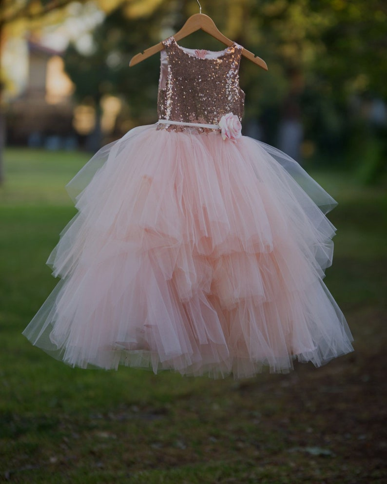 8872f144ea83e Mia Dress Sequin and tulle tiered dress flowergirl blush