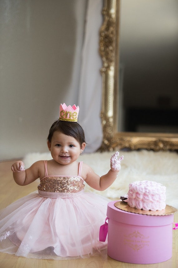 Excellent First Birthday Cake Smah Rose Gold And Pink Sparkle Princess Etsy Personalised Birthday Cards Veneteletsinfo