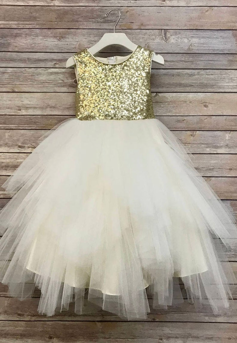 633a939194f6 Gold Sequin Top Flower Girl Glam Dress Sizes 2-16 Blush | Etsy