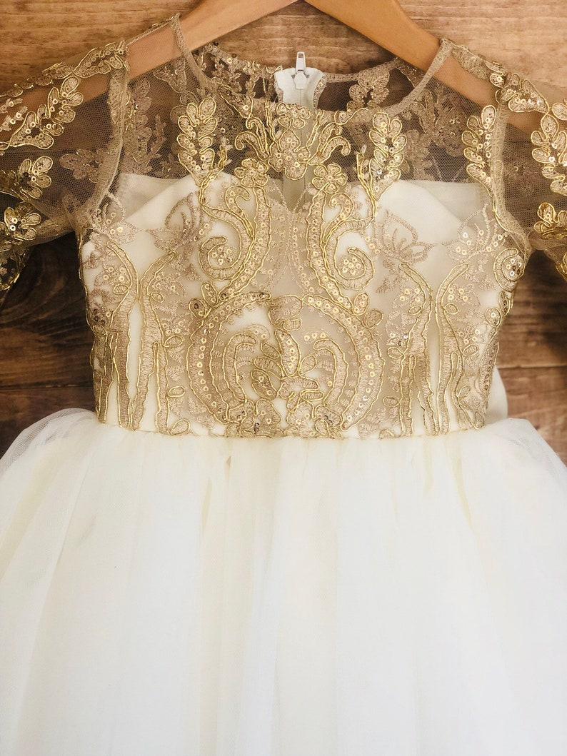 6bb69b7db303 Ariella Dress long sleeve lace gold ivory white Christmas | Etsy