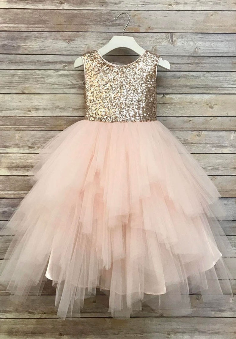 19d7dc46ad1 Sequin Top Flower Girl Glam Dress Blush Rose Gold  Champagne
