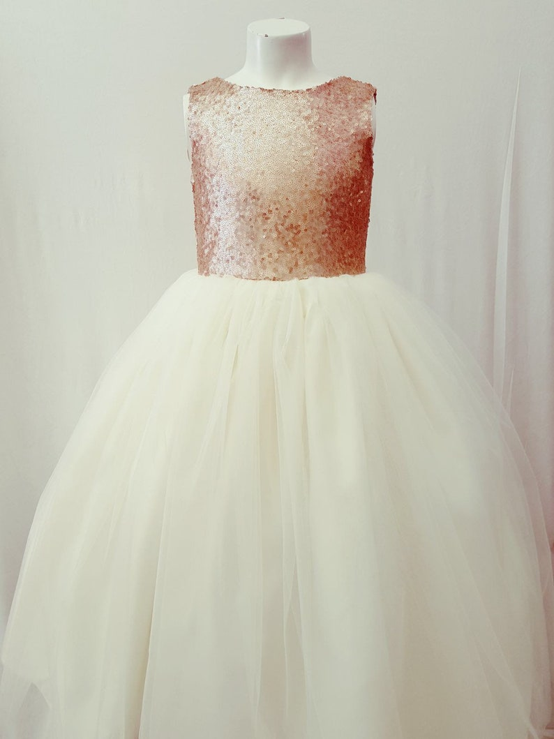 e761292f5f5 Champagne and ivory gold flower girl dress tulle skirt formal