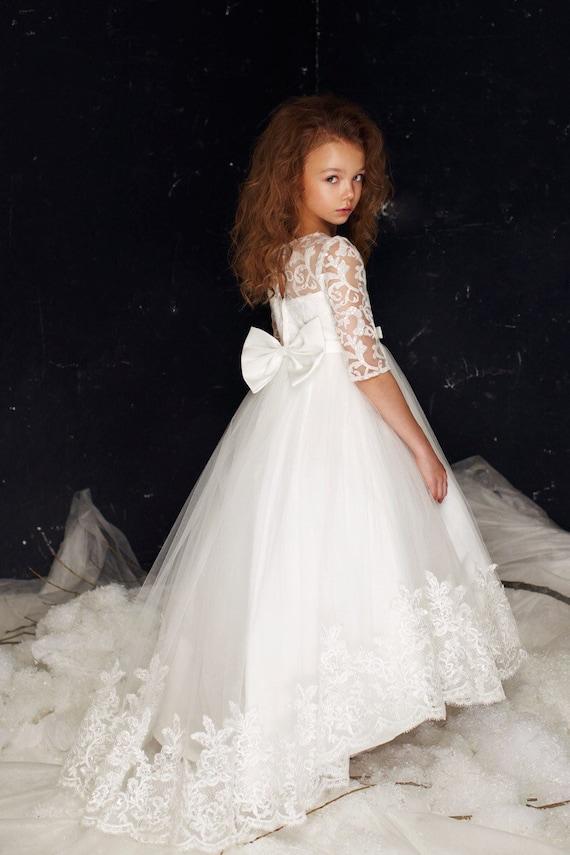 70e1355bf685 Lily Dress prima comunione manica lunga ragazze flowergirl