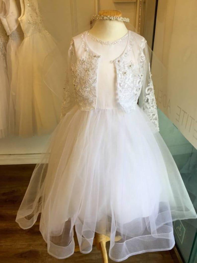 Communion girl lace cover up tulle bolero shrug wrap Capelet  ae7cd03cd