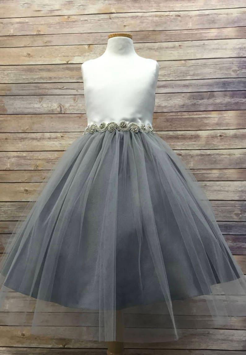 5940340434d2 Rhinestone Belt Elegant Satin and Tulle Flower Girl Dress | Etsy