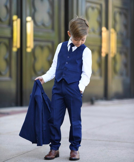 Boy Toddler Kid Teen 5PC Wedding Formal Party Sky Blue Suit Tuxedo Vest sz 2-20