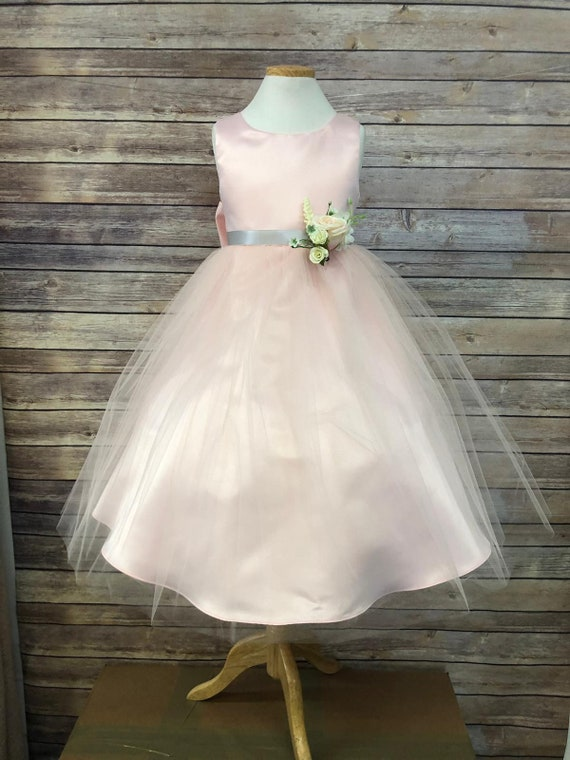Hannah Dress Classic Simple Satin and Tulle Flower Girl Dress 2 to size 16 Girls Comes in Champagne, Blush, purple sage green