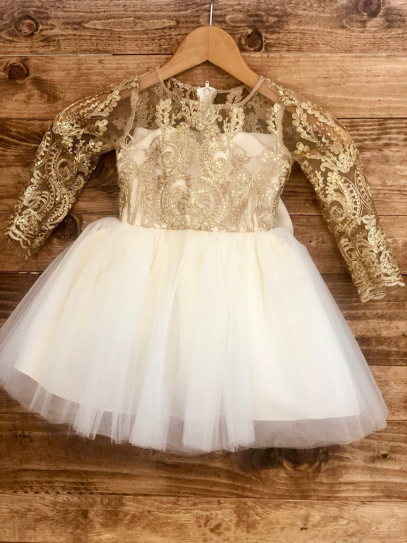 7774090504a51 Ariella Dress long sleeve lace gold ivory white Christmas   Etsy
