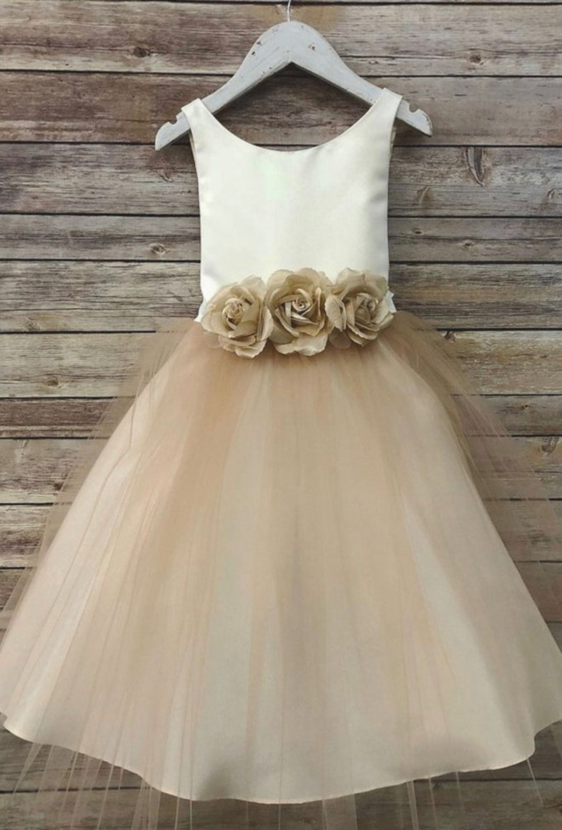 318bb0e83 Ella Dress-two tone colored tulle dress with flower belt sash | Etsy