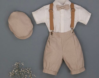 Angel Outfit - boys formal linen suspender  suit bow tie shorts ring bearer wedding party knickers vintage linen