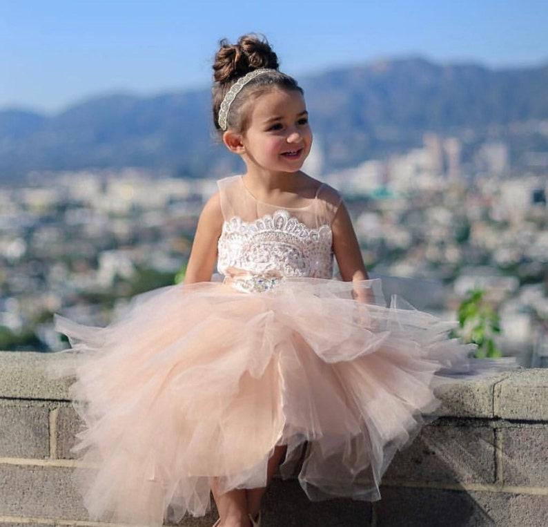 02fe87cea Fancy Flower Girl Dress Poofy Tiered Tulle Skirt Mini Bride | Etsy