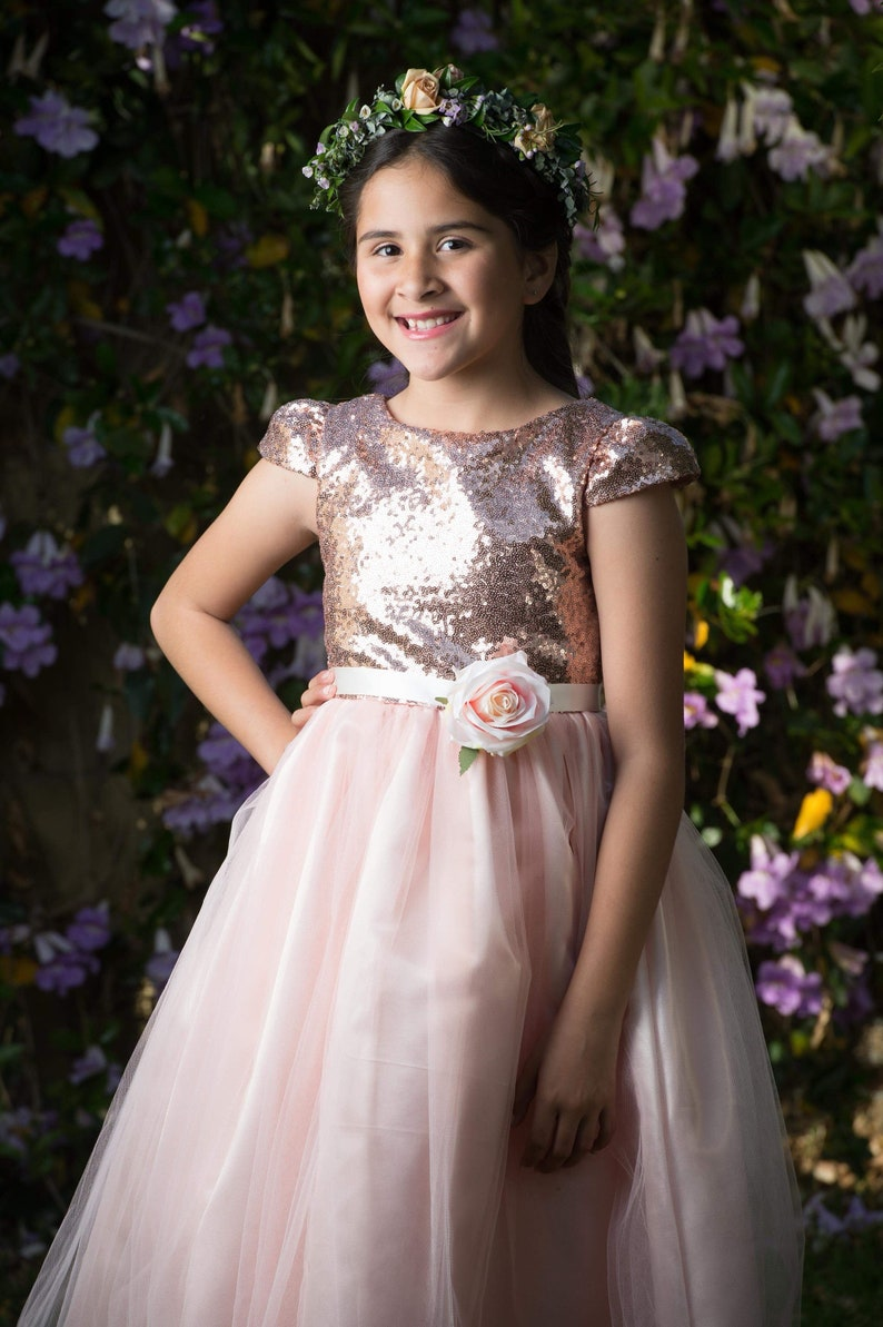 Sequin bodice cap sleeve dress tulle skirt Flowergirl Dress | Stay at Home Mum