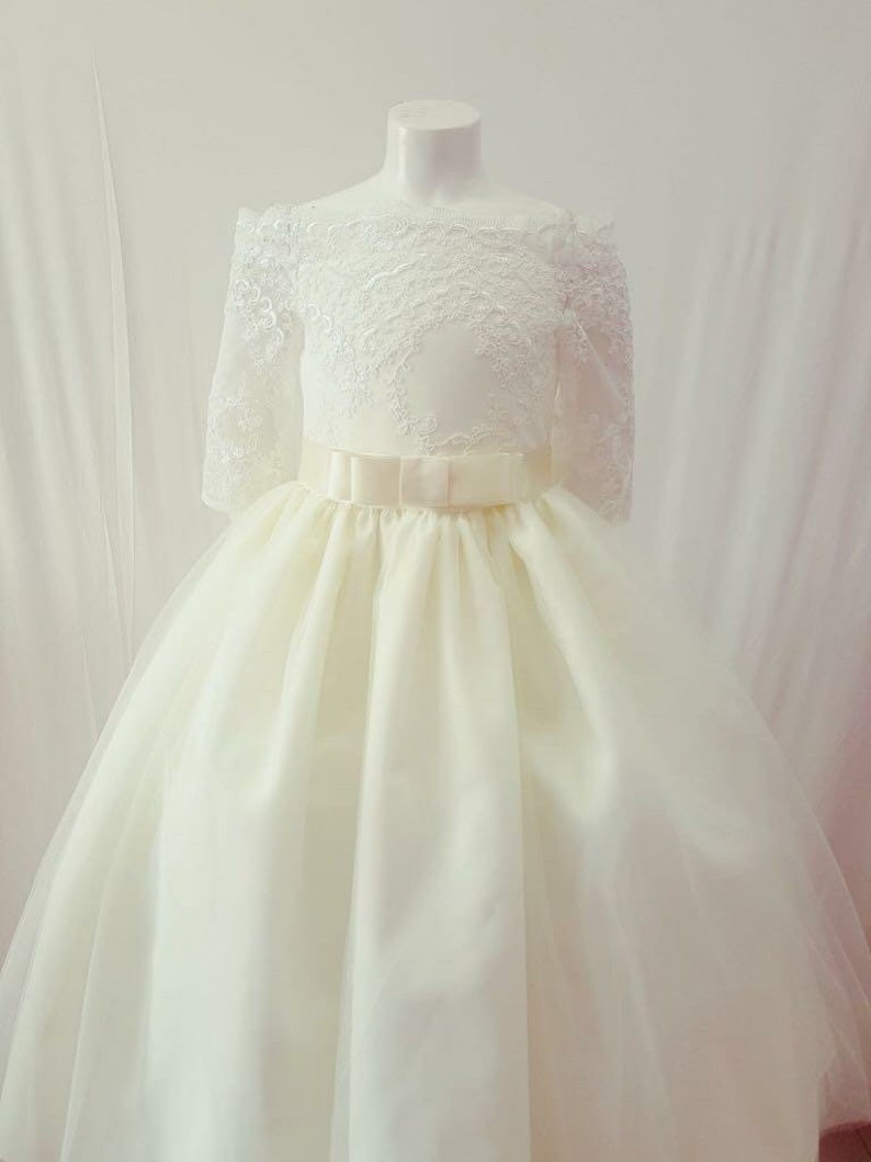 champagne ivory white baby blue Princess Charlotte Dress-lace off the shoulder dress tulle skirt blush