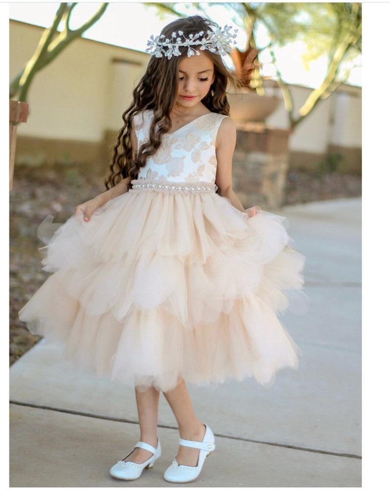 9ce8b0f556c Michelle Dress vintage rose flower girl dress ivory classic