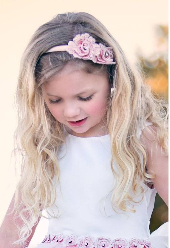champagne or white 3d flowers Flower girl headband blush pink
