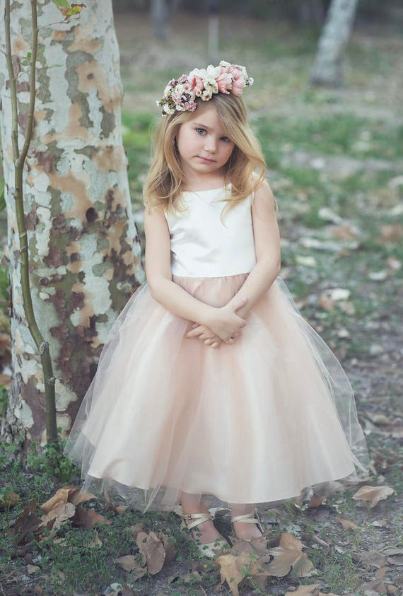 Custom Classic Simple Satin and Tulle Flower Girl Dress Comes in Various Colors Champagne, Blush, Purple Green Grey,