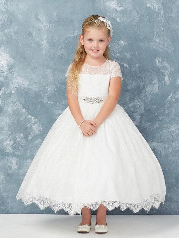 Aliesha Dress all lace first communion dress jrs dress girls white lace dress rhinestone belt fancy classic flower girl dress