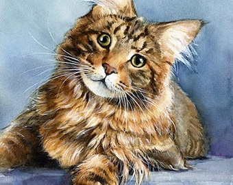 Maine coon cat - watercolor original