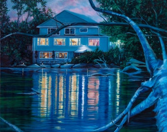 """Giclée print """"A Night To Remember"""" - From an original 24"""" x 24"""" oil painting of a lakefront soiree. 12""""x12"""" Exhibition canvas, archival ink."""