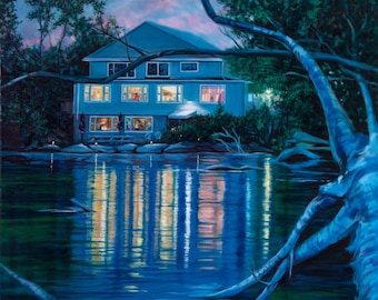 """Original oil painting """"A Night To Remember"""" - A lakefront house hosts a twilight soiree. 24"""" x 24"""" canvas, Dammar varnish, gallery wrapped."""