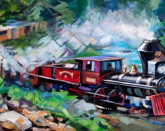 """Original mixed media painting """"Full Steam Ahead"""" - A train chugs its way across Colorado's Rockies. 12"""" x 24"""", canvas, wired, ready to hang!"""
