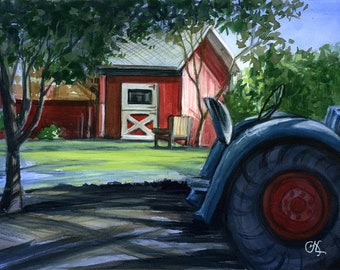 Original watercolor painting Red Barn 9 x 12 Camarillo A Camarillo Ranch landmark and site of numerous nuptials archival paper CA