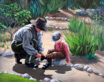 """Giclée print """"Bonding"""" - From an original 18"""" x 24"""" oil/acrylic painting of father & son. Exhibition canvas, archival ink, varnish, unframed"""