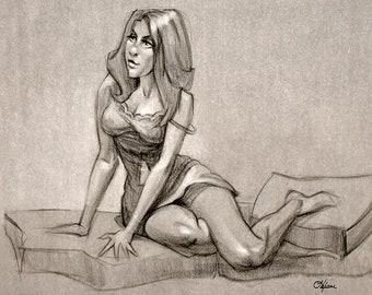 """Giclée print """"Rachel"""" - From an original 18"""" x 24"""" Conté chalk drawing of a live model figure study. Archival ink, Dammar varnish, unframed."""