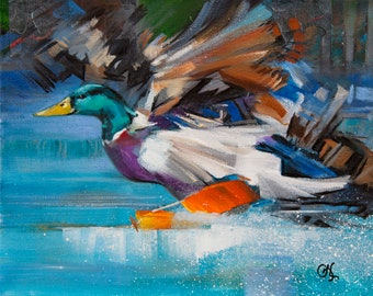 """Giclee Print """"Splashdown"""" - A duck's feet skim the water as it lands in a placid pond. 8"""" x 10"""", archival ink"""