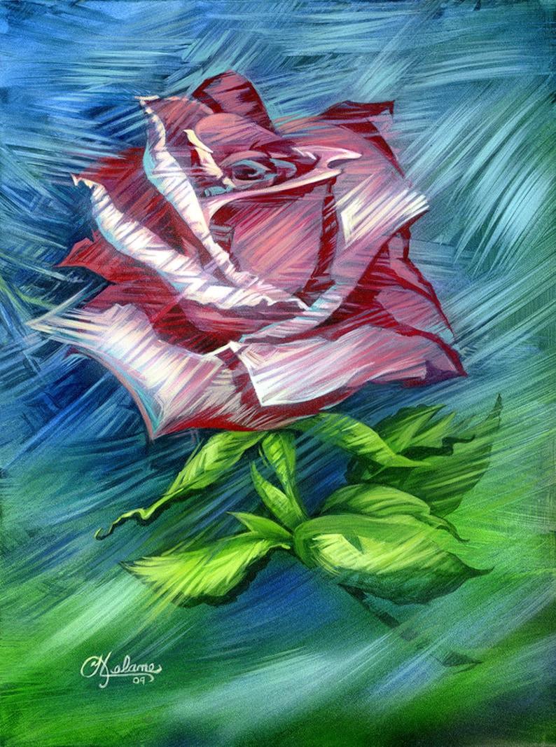 Peinture Originale Vieux Rose Une Rose Poussiéreuse Etsy