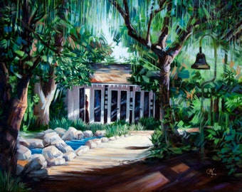 """Original oil & acrylic painting """"Hidden Sanctuary"""" - Reyes Adobe Historical Site, Agoura Hills, CA. 16"""" x 20"""", canvas, wired, ready to hang!"""