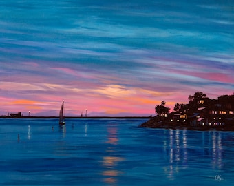 """Original oil & acrylic painting """"Heading Home"""" - A boat returns to port, Marina Del Rey, CA. 16"""" x 20"""", canvas, wired, ready to hang!"""