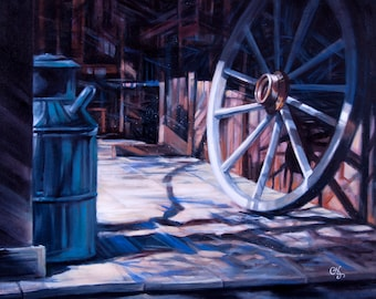 """Original oil & acrylic painting """"Early to Rise"""" - A porch at the Stagecoach Inn, Newbury Park, CA. 16"""" x 20"""", canvas, wired, ready to hang!"""