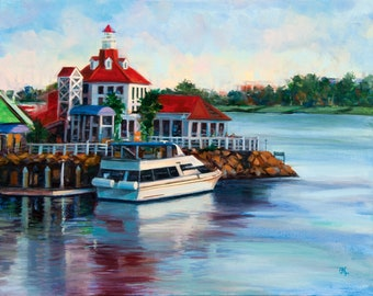 """Original oil & acrylic painting """"Welcome Aboard"""" - A boat in Long Beach, CA awaits passengers. 16"""" x 20"""", canvas, wired, ready to hang!"""