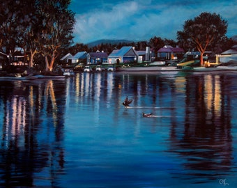 """Original oil & acrylic painting """"A Peaceful Evening"""" - The lake at twilight, Westlake Village, CA. 16"""" x 20"""", canvas, wired, ready to hang!"""