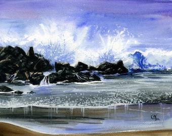 "Original watercolor painting ""Venice Rocks"" - A huge wave crashes over the shoreline rocks at Venice Beach, CA. 9"" x 12"", archival paper."