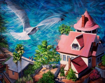 """Original oil & acrylic painting """"Bird's Eye View"""" - A seagull flies high above Catalina Island. 30"""" x 40"""", Dammar varnish, gallery wrapped."""