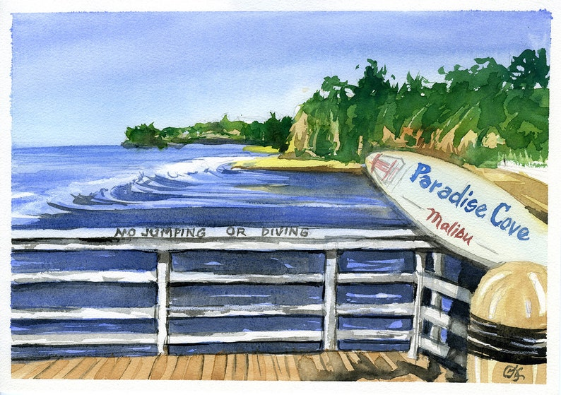 Original watercolor painting Paradise Cove Rules  image 0
