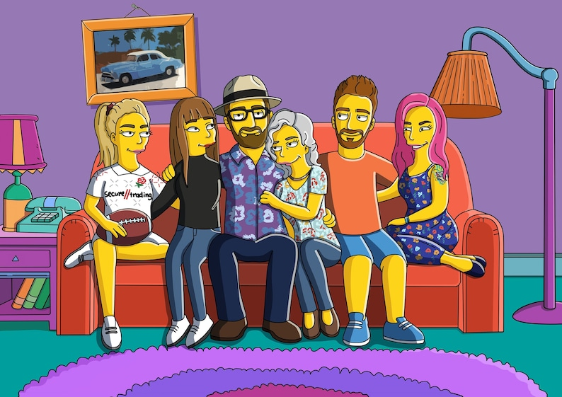 Yellow portrait of your family and friend Cartoon portrait as a great gift idea. Custom family portrait Father\u2019s Day gift idea