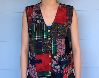 SALE! 70's Patchwork Vest with Star Buttons
