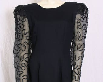 83ff17173fc vintage 80s black COCKTAIL DRESS Prom Gown Sheer Slv Bodycon sz 6 Late  Edition