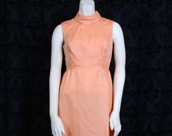vintage 60s 70s Peach EVENING GOWN prom dress w/ JACKET 2 pc Maxi hostess