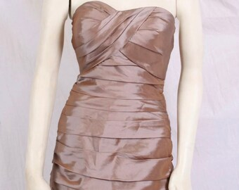 e469b9f29cd Vintage 90s Champagne Satin Bill Levkoff BANDAGE COCKTAIL DRESS Bodycon prom  sz 6
