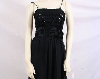 vintage 60s Black TAFFETA PROM DRESS, sequined, ball gown, pageant New Look